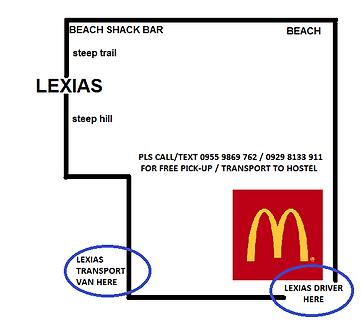 lexias hostel el nido guest pick up location