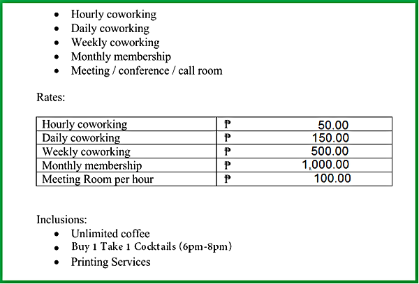 lexias hostel el nido coworking space pricing