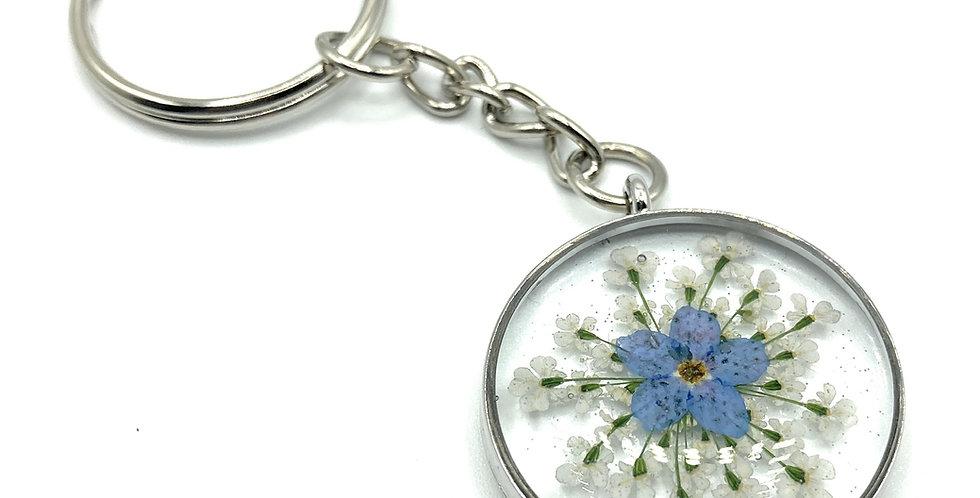 Forget Me Not Flower Silver Keyring.