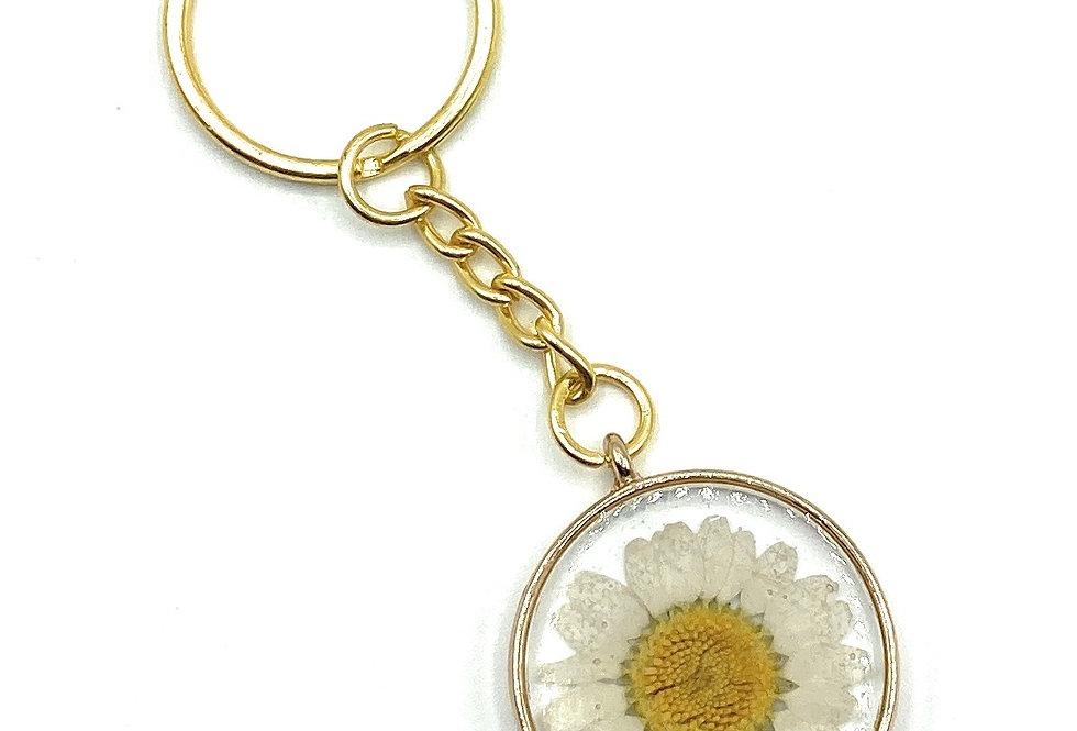 Daisy Flower Gold Keyring.