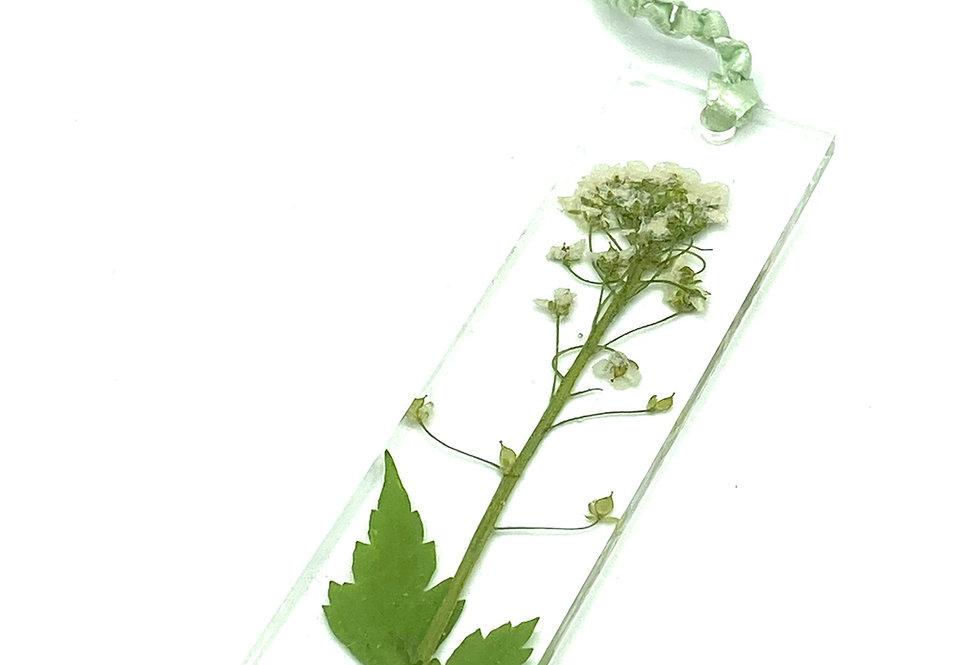 Elegant Pressed White Flower and Leaf Resin Bookmark