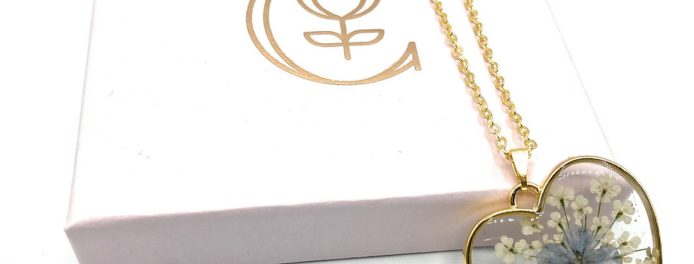 Heart Shaped Forget Me Not Flower Gold-Plated Remembrance necklace