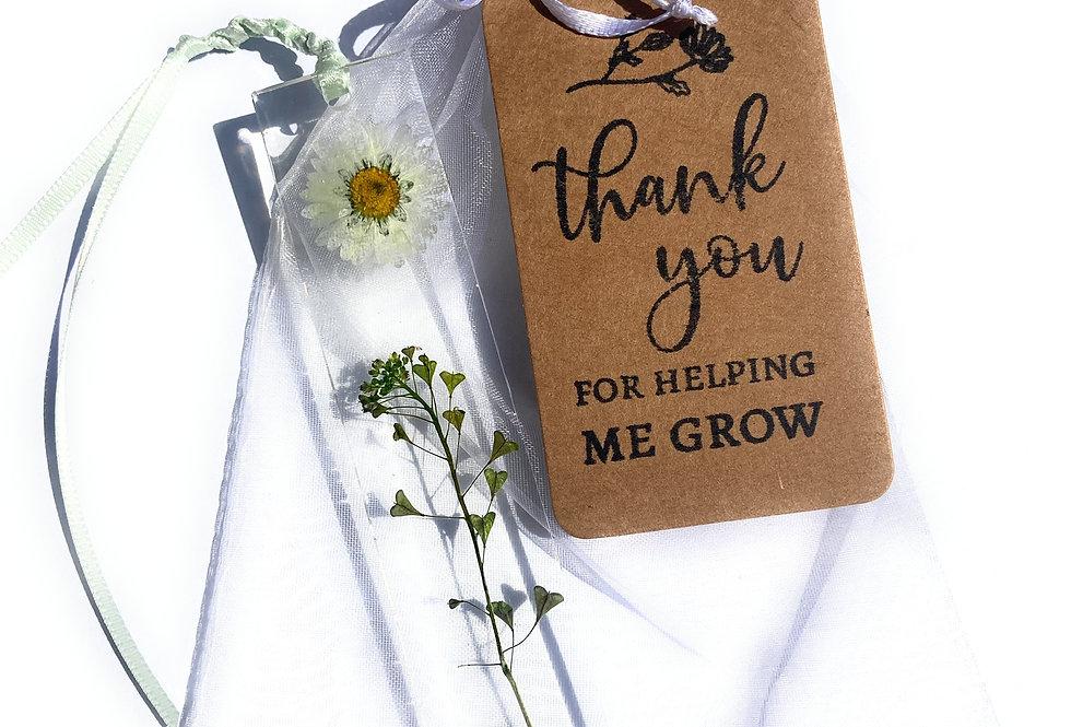 Teachers Gift Handmade Daisy and Wildflower bookmark