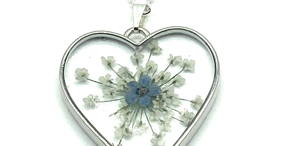 Heart Shaped Forget Me Not Flower Keepsake Pendant and silver necklace