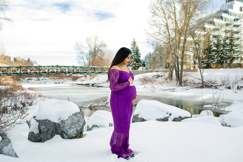 Winter Dream Maternity - Pregnant Woman in a Long Purple Matenrity Gown