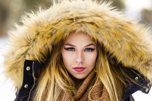Model Vell on a frigid winter day in Calgary