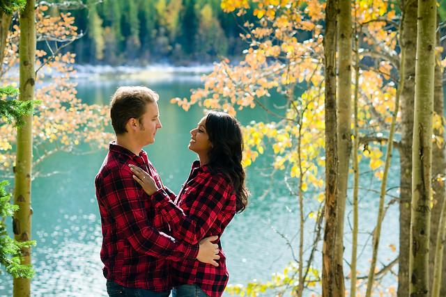 Kissing in the forest in Kananaskis