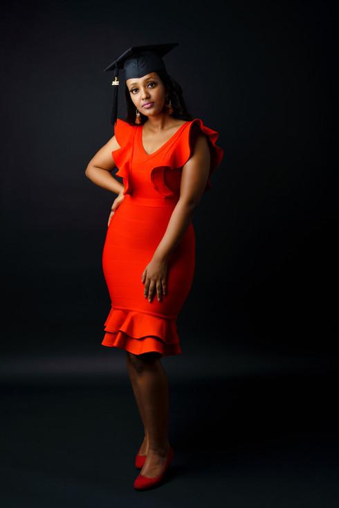 University Graduate Lily wearing a red dress