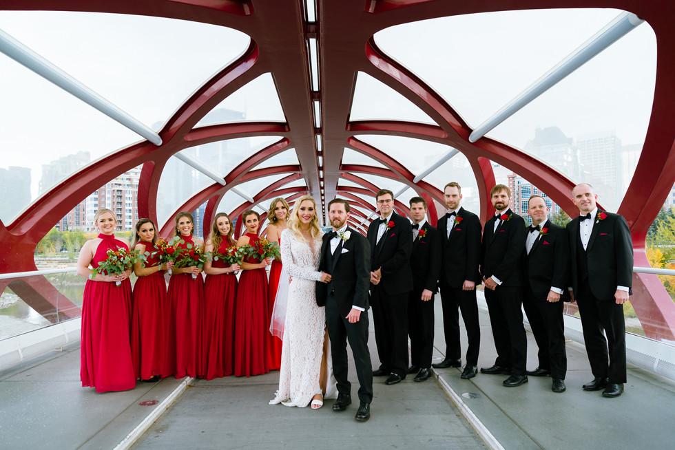 Monika and Ryan Fall Wedding in Calgary - Peace Bridge