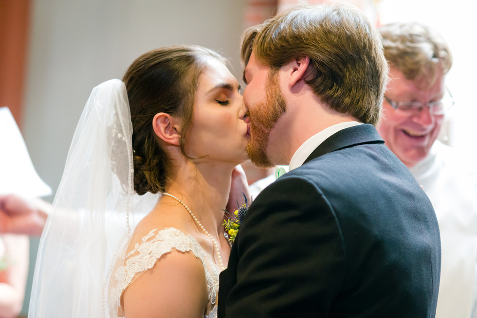 Cloe and Josh Fairytale Wedding in Calgary - Wedding Ceremony Kiss