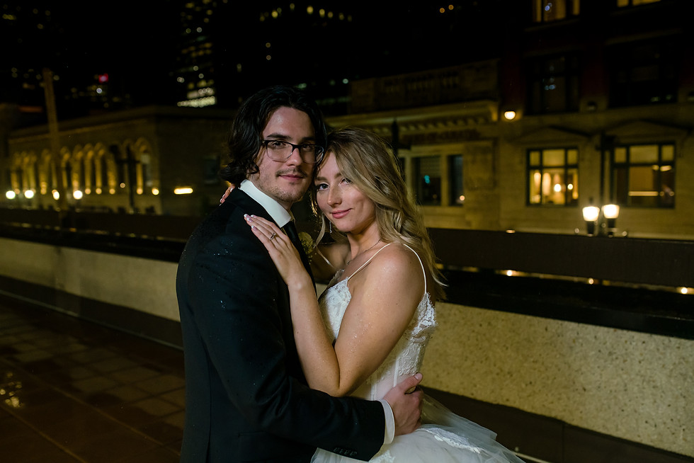 Amy and Bryce's Dream Wedding in Calgary - Bride and Groom Night Photos in the Rain