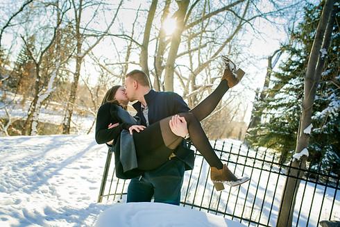 Winter Engagement Kiss in Calgary