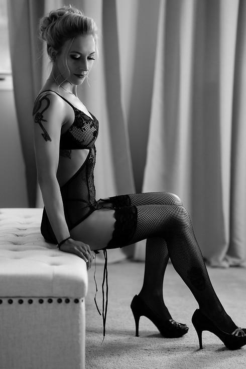 Dream black and white lingerie boudoir portrait taken in Calgary home studio