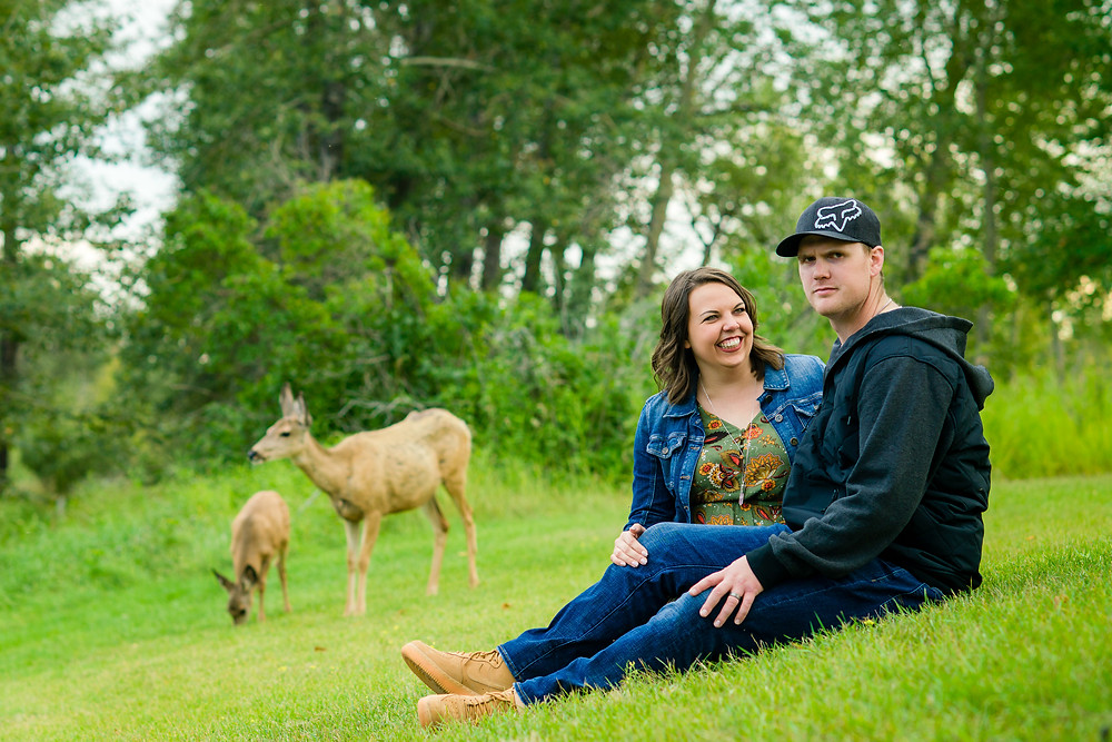 Deer Photobombing Engagement Photo Session in Inglewood Sanctuary in Calgary