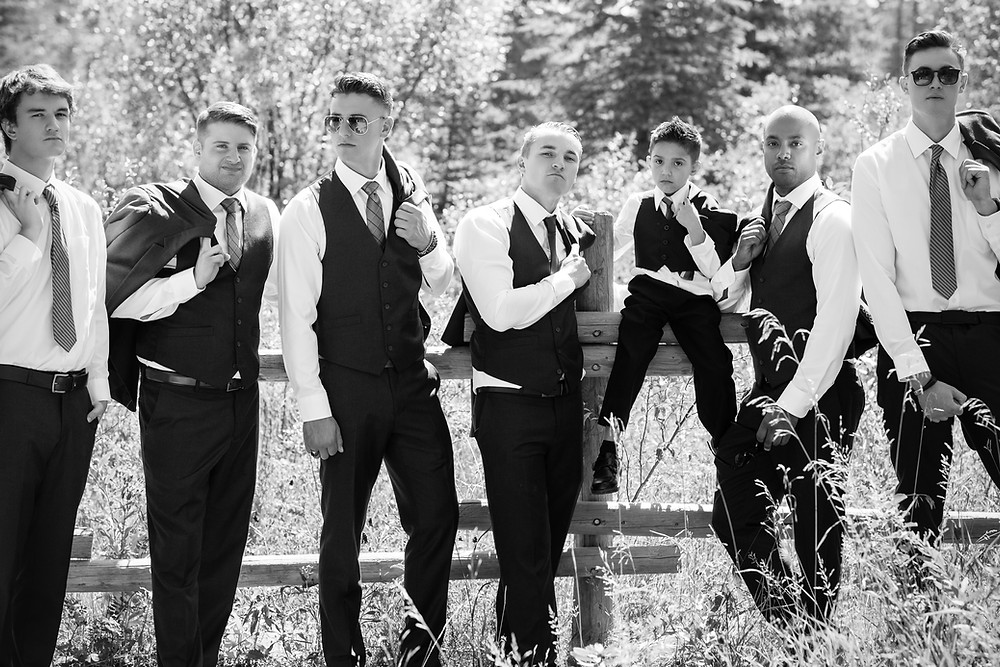 Black and White Groomsmen Stylish Wedding Photo in Griffith Woods, Calgary