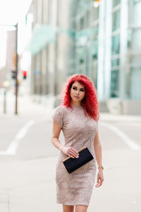 Fiery Redhead Amber in the City Fashion Shoot