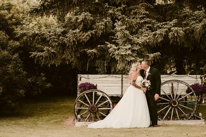Stefanie and Tyler Rustic Barn Wedding in Rockyford Alberta - Bride and Groom