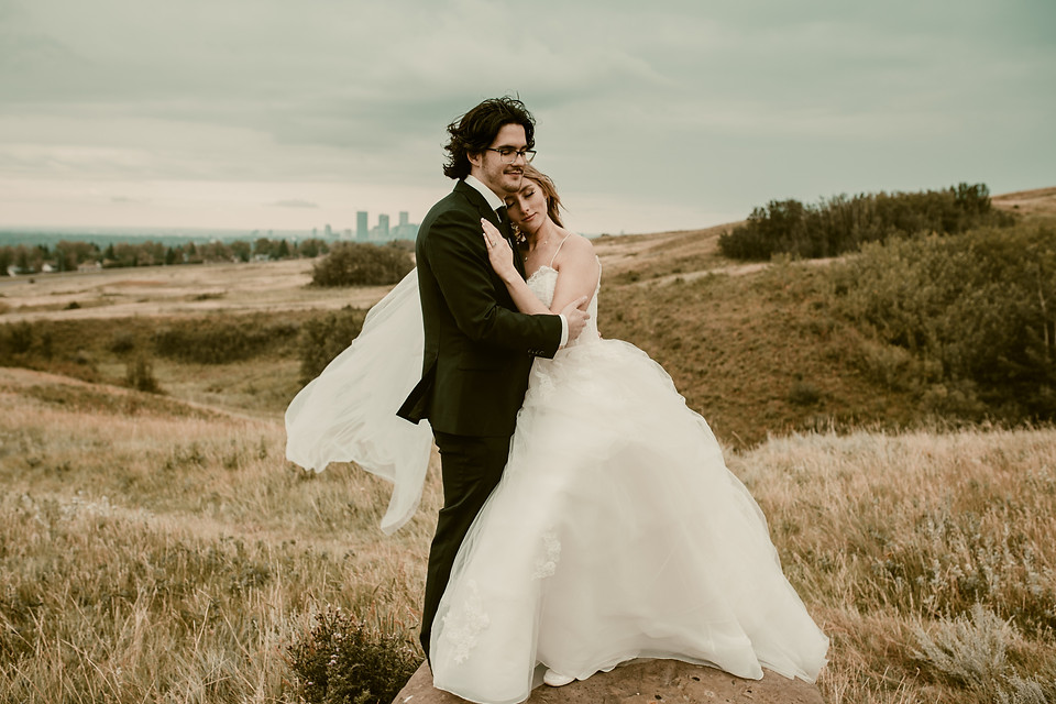 Amy and Bryce's Dream Wedding in Calgary - Bride and Groom