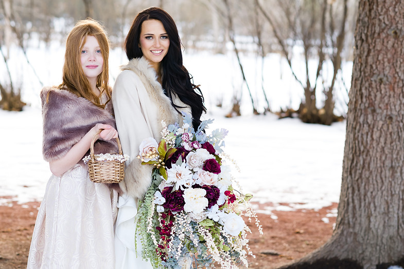 Lindsay and Jacob Dream Winter Wedding in Calgary - Bride and Flower Girl