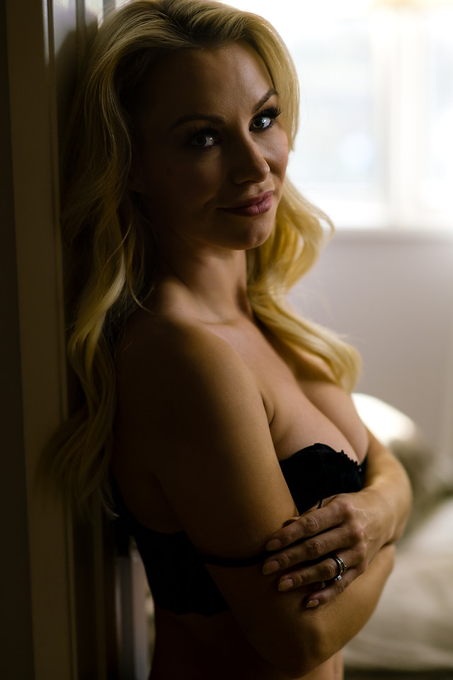 Beautiful Boudoir Portrait of Blonde Woman