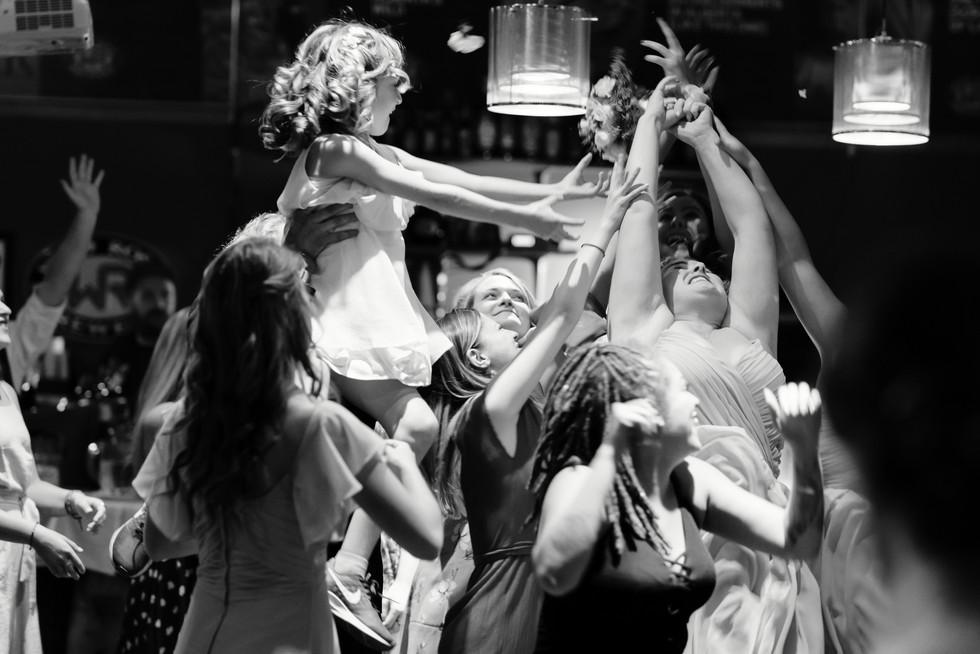 Cloe and Josh Fairytale Wedding in Calgary - Wedding Reception Bouquet Toss