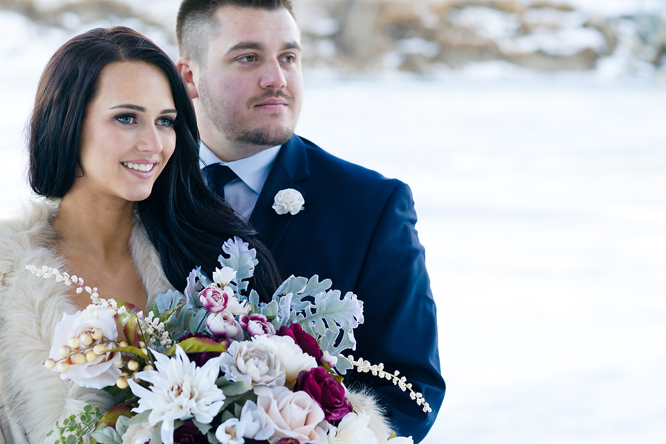 Lindsay and Jacob Dream Winter Wedding in Calgary - Bride and Groom