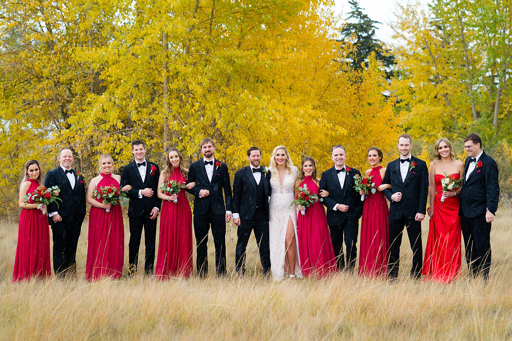 Wedding Party Fall Photos in Inglewood Bird Sanctuary