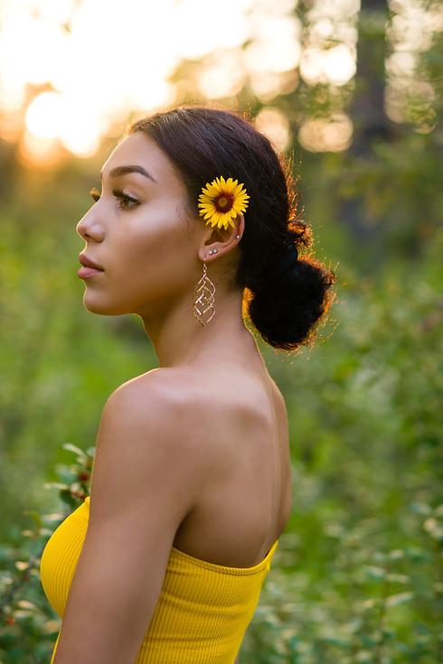 Angie Teen model during golden hour -Sunflower Bliss