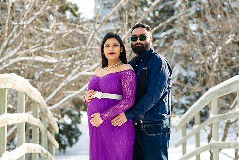 Winter Couple Maternity on a Bridge