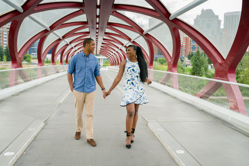 Engagement Summer Photo Session on Peace Bridge in Calgary