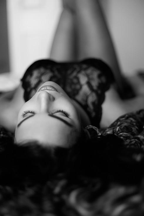 Dream black and white lingerie boudoir portrait
