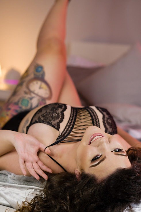 Pin Up Style Boudoir in Black Lingerie Top