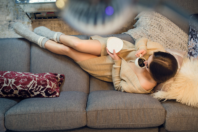 Having a Cup of Coffee - Lifestyle Boudoir Woman wearing loose sweater and socks