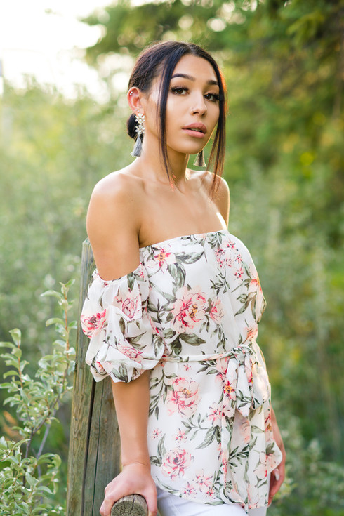 Angie Teen model on wooden fence