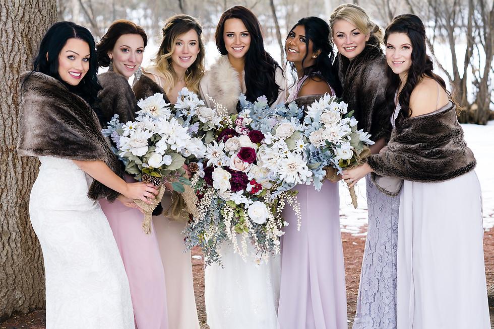 Lindsay and Jacob Dream Winter Wedding in Calgary - Bridesmaids