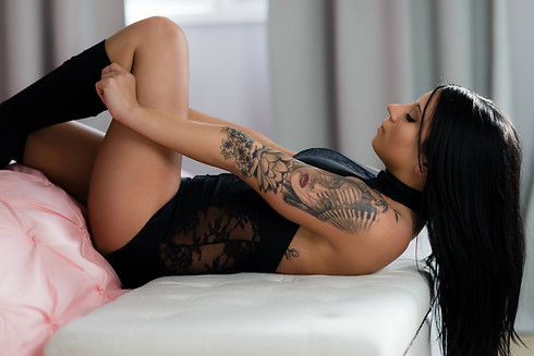 Playing with high socks - Boudoir Lingerie Outfit Idea
