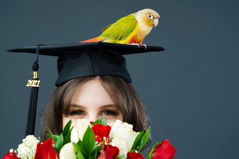 Nekoda Graduation Photoshoot with her pet conure