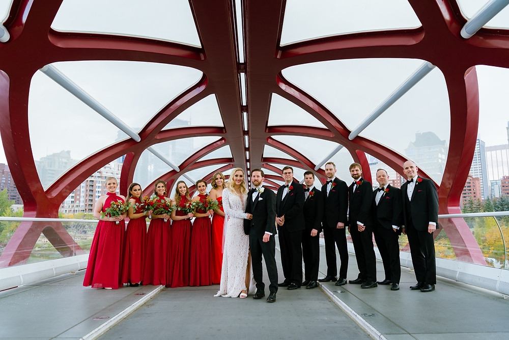 Fall Wedding in Calgary - Peace Bridge Wedding Party Photos