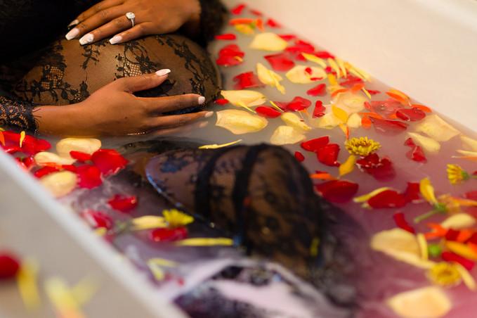 Maternity Boudoir Gender Reveal in Bath
