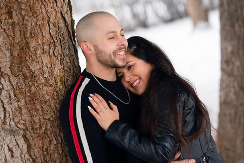 Cozy Winter Engagement Couple