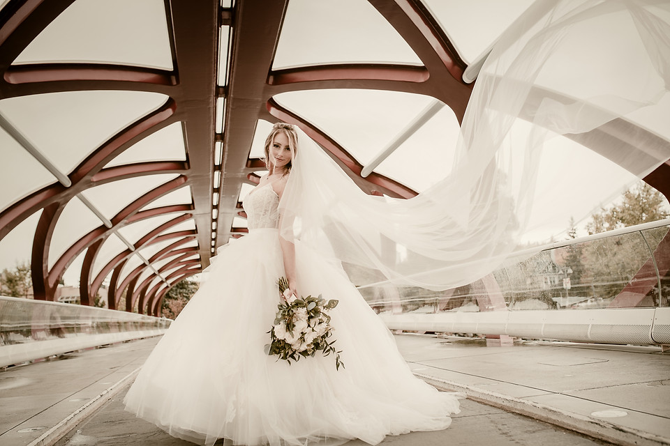 Amy and Bryce's Dream Wedding in Calgary - Bride at the Peace Bridge