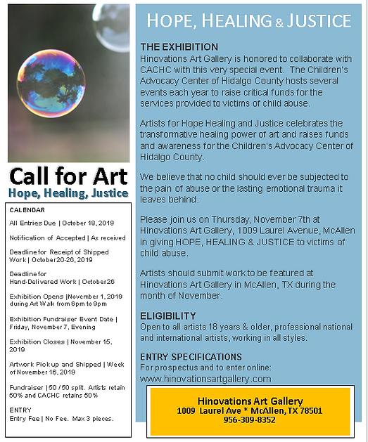 Hope Healing & Justice Call for Art Imag