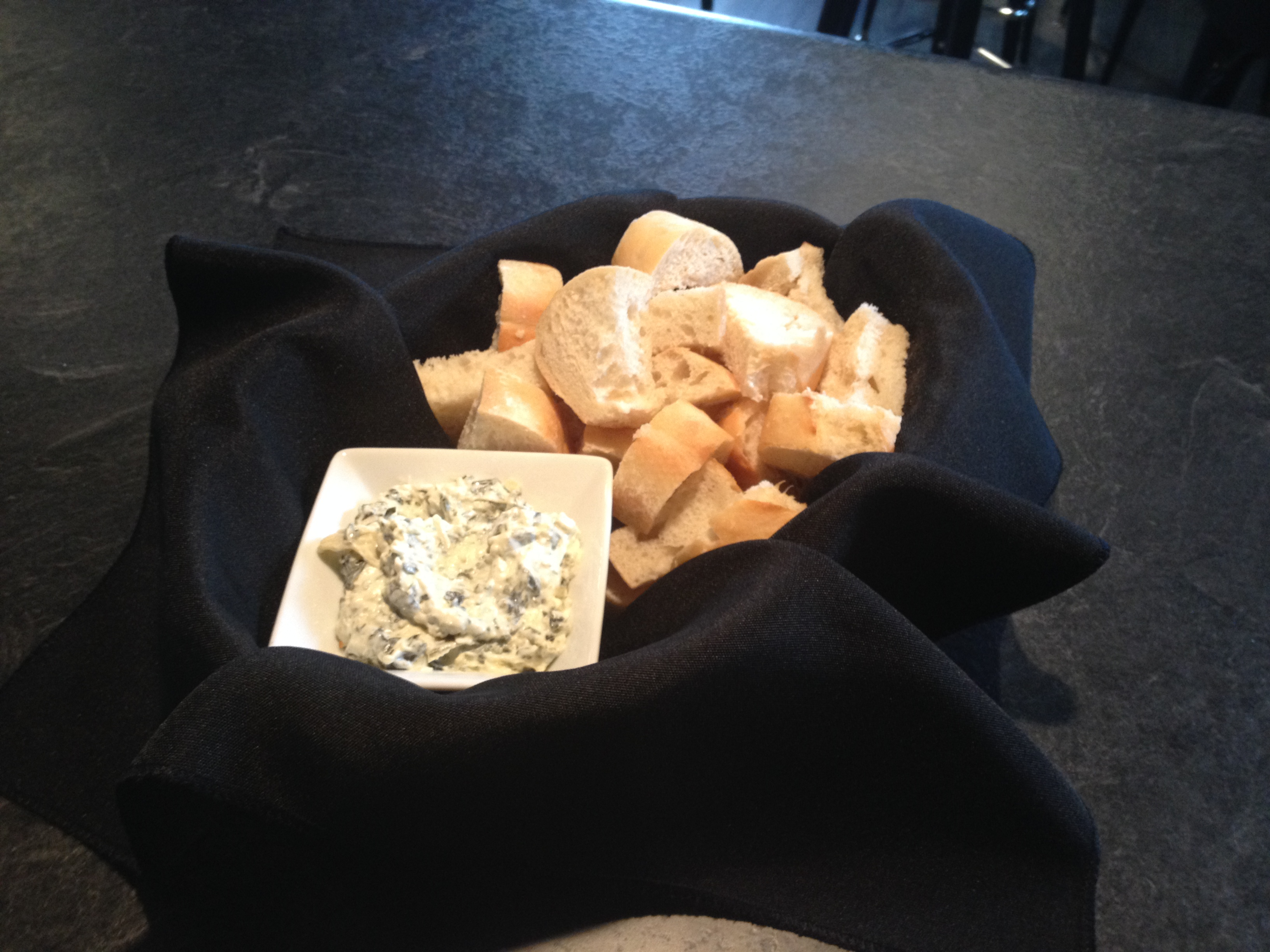 Bread with Spinach Artichoke Dip