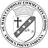 St. Mary School Crown Point black and white logo produced by Eleven Seventeen Media