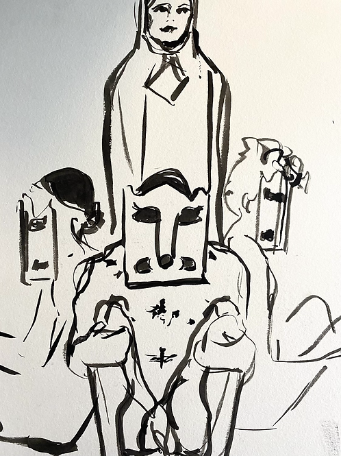 India ink figure study