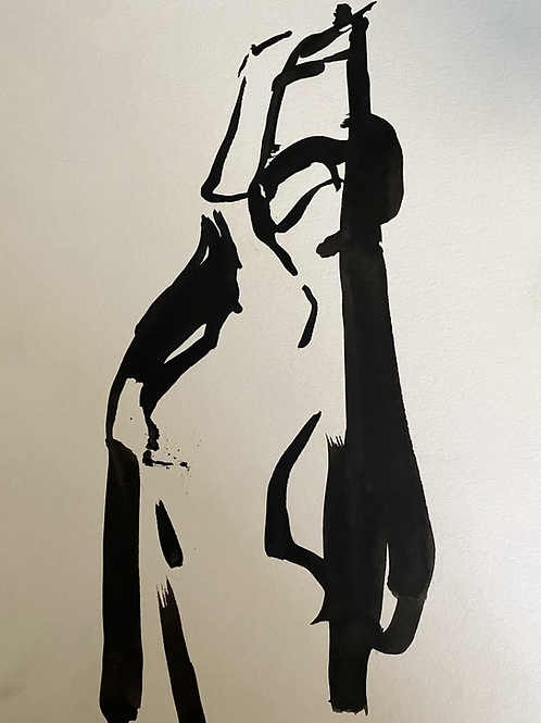India ink figure with drapery