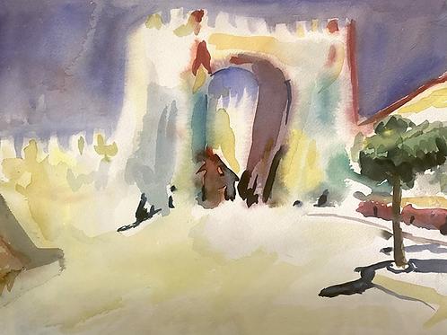Watercolor Spanish arch
