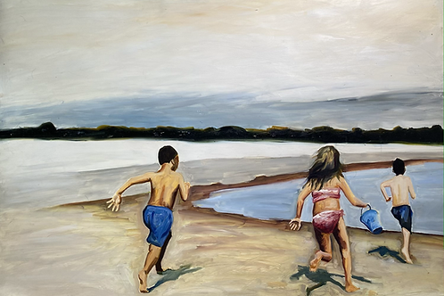 Oil Painting of Kids at Beach