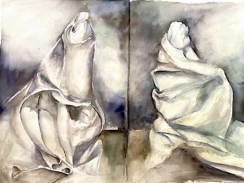 Watercolor drapery studies
