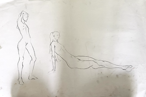 Pencil Sketch of Two Seated Femlae Figures
